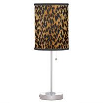 Genuine Leopard Fur Animal Print Desk Lamp