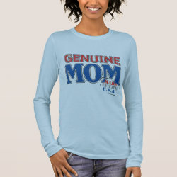 Women's Basic Long Sleeve T-Shirt with Genuine Mom USA design