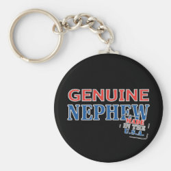Basic Button Keychain with Genuine Nephew USA design