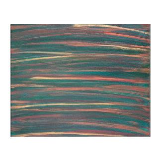 Genuine Original Handpainted Abstract Green Stripe Acrylic Print