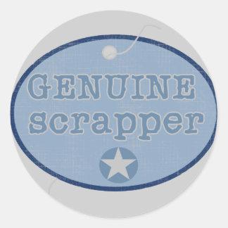 Genuine Scrapper Tshirts and Gifts Round Sticker