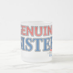 Frosted Glass Mug with Genuine Sister USA design