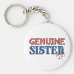 Basic Button Keychain with Genuine Sister USA design
