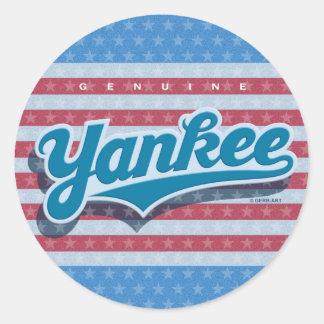Genuine Yankee - blue/starsstripes) Classic Round Sticker