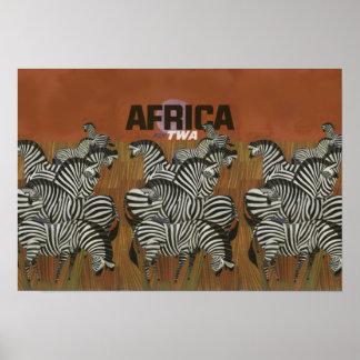 Genuine Zebra Vintage Poster Africa Travel