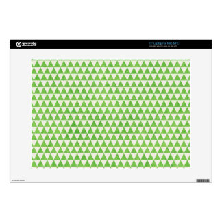 "GEO23  LIGHT GRASSY GREEN WHITE TRIANGLE SHAPES PA 15"" LAPTOP DECALS"