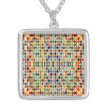 [GEO-ABS-1] Abstract oval pattern Square Pendant Necklace