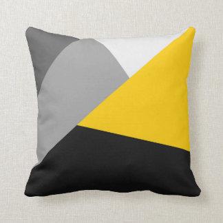 Geo amarillo y negro gris moderno simple cojín