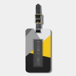 Geo amarillo y negro gris moderno simple etiquetas de equipaje