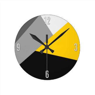 Geo amarillo y negro gris moderno simple reloj redondo mediano