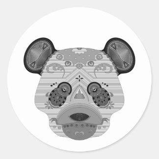 geo bear classic round sticker