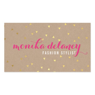 GEO CONFETTI GOLD stylish trendy kraft bright pink Double-Sided Standard Business Cards (Pack Of 100)