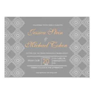 Geo Diamond Pattern wedding invitation