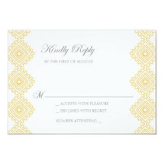 Geo Diamond Pattern Wedding RSVP card- tangerine Card
