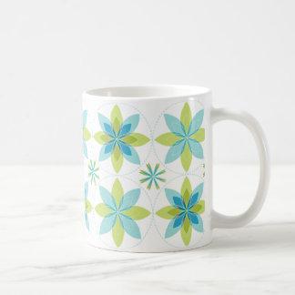Geo-floración-seafoam de la taza de café