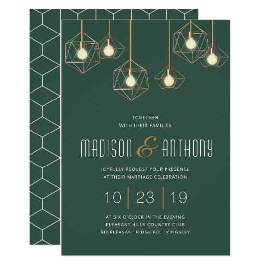 Geo Lights Emerald Green Modern Geometric Wedding Invitation