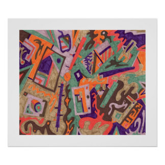 Geo-Organic Pool, Abstract Art Poster