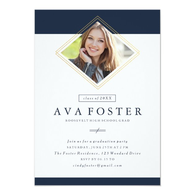 Geo photo graduation invitation faux foil