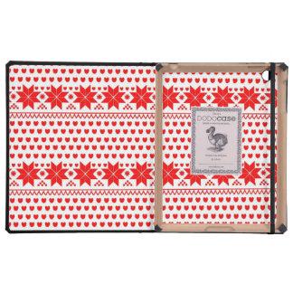 GEO-RD-1 Estrellas del navidad rojo y blanco iPad Fundas