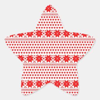 GEO-RD-1 Estrellas del navidad rojo y blanco Calcomanías Forma De Estrellas Personalizadas