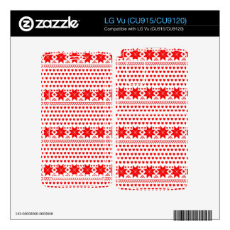 [GEO-RD-1] Red and white Christmas stars Skins For LG Vu