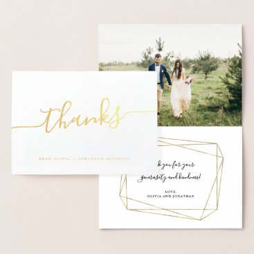Geo Script | Thanks with Photo Foil Card