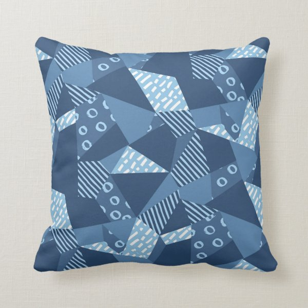 Geo shapes crazy patchwork design blue tones throw pillow