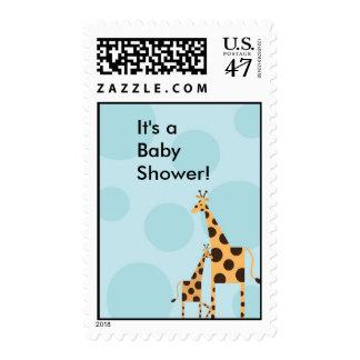 Geo the Giraffe Baby Shower Stamp - Baby Blue