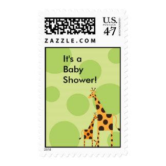 Geo the Giraffe Baby Shower Stamp - Green