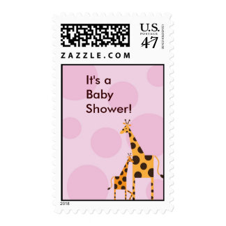 Geo the Giraffe Baby Shower Stamp - Pink