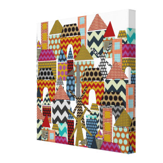 geo town stretched canvas print