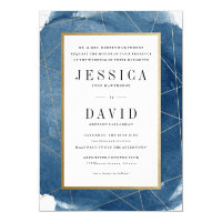 Geo watercolor faux foil wedding invitation