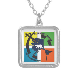 GEOCACHE ALASKA- NORTH TO THE FUTURE SILVER PLATED NECKLACE