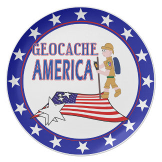 GEOCACHE AMERICA DUDE GUY MALE MELAMINE PLATE