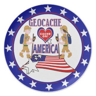 GEOCACHE AMERICA GEOCACHING MELAMINE PLATE