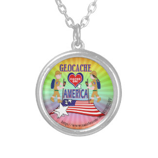 GEOCACHE AMERICA GEOCACHING SILVER PLATED NECKLACE