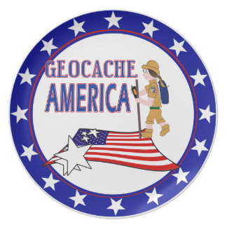 GEOCACHE AMERICA  GIRL CHICK MELAMINE PLATE