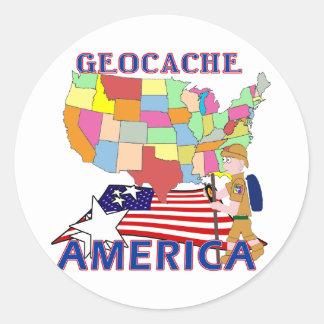 GEOCACHE AMERICA STATES CLASSIC ROUND STICKER