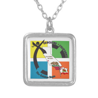 GEOCACHE CALIFORNIA THE GOLDEN STATE SILVER PLATED NECKLACE