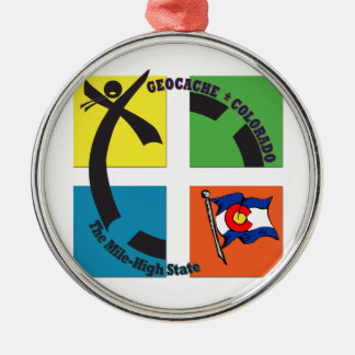 GEOCACHE COLORADO THE MILE HIGH STATE METAL ORNAMENT