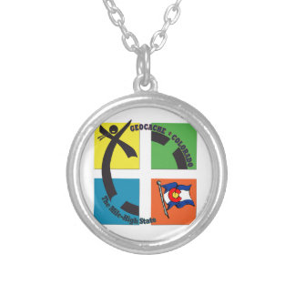 GEOCACHE COLORADO THE MILE HIGH STATE SILVER PLATED NECKLACE