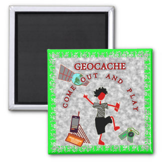 Geocache Come Out And Play 2 Inch Square Magnet