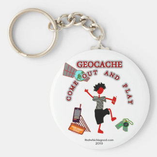 Geocache Come Out And Play Basic Round Button Keychain