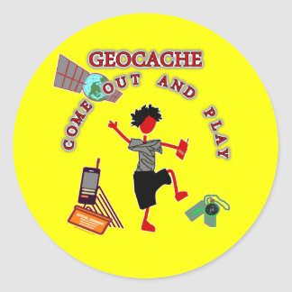 Geocache Come Out And Play Classic Round Sticker