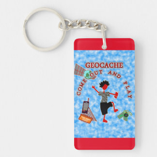 Geocache Come Out & Play Double-Sided Rectangular Acrylic Keychain