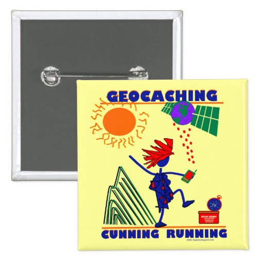 Geocache Cunning Running 2 Inch Square Button