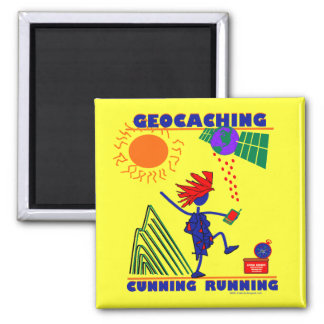 Geocache Cunning Running 2 Inch Square Magnet