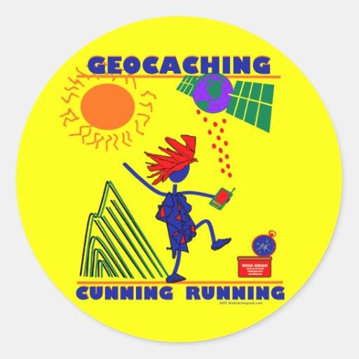 Geocache Cunning Running Round Sticker