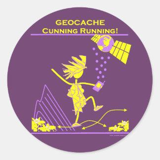 Geocache - funcionamiento astuto pegatina redonda