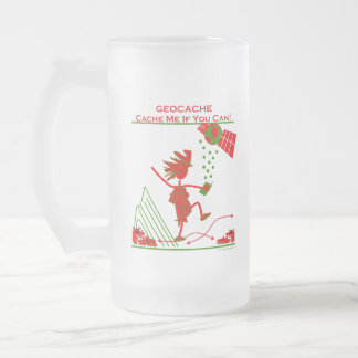 Geocache Gift - Cache me if you can! Gifts & T's 16 Oz Frosted Glass Beer Mug